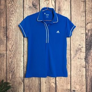 Adidas Golf Top L Collar Buttons Blue Shirt